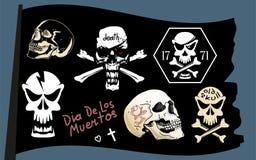 Piratenflaggen-Vektorschädelsatz Stockfotos