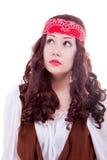 Piratenfrau auf weißem Hintergrund Lizenzfreie Stockfotografie