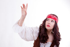 Piratenfrau auf weißem Hintergrund Stockbild