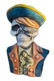 Piratengeist-Statuenisolat auf weißem Hintergrund Stockfotografie