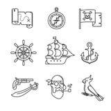 Piratenikonen verdünnen Linie Kunstsatz Stockfotos
