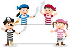 Piratenjonge geitjes en Banner Stock Foto's
