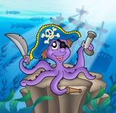 Piratenkrake mit Schiffswrack lizenzfreie abbildung