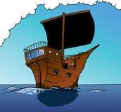 Piratenlieferungssegeln voran Stockbild