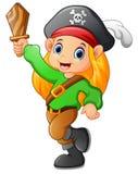 Piratenmädchen, das hölzerne Klinge hält Lizenzfreie Stockfotografie