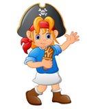 Piratenmädchen, das hölzernes Messer hält Stockfotografie