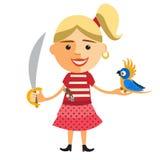 Piratenmädchen mit Papageien Vektor Lizenzfreie Stockfotos