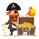 Piratenpapagei und Kasten des Goldes lizenzfreie abbildung