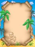 Piratenpergament mit Palmen Stockbild