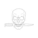 Piratenschädel mit einem Messer Stockfotografie