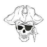 Piratenschädel mit Hut und Augenklappe Stockbilder