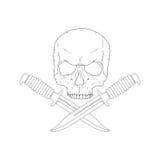 Piratenschädel mit Messer Stockfoto