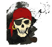 Piratenschädel mit Pfeife und Augenklappe Stockfotografie