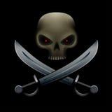Piratenschädel mit Säbeln lizenzfreie abbildung