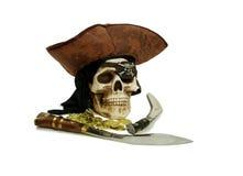 Piratenschädel und -beute lizenzfreies stockfoto