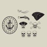 Piratenschädelsatz Lizenzfreie Stockbilder