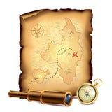 Piratenschatzkarte mit Fernglas und Kompass lizenzfreie abbildung