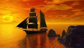 Piratenschiff auf ruhiger Wiedergabe des Wassers 3d Lizenzfreie Stockfotografie