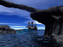 Piratenschiff auf ruhiger Wiedergabe des Wassers 3d Lizenzfreies Stockbild
