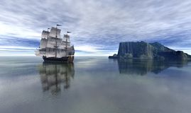 Piratenschiff im blauen Himmel und im schönen ruhigen See, Wiedergabe 3d Stockfotografie