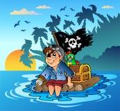 Piratensegeln auf hölzernem Floß lizenzfreie abbildung