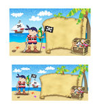 Piratentaufeeinladung Stockbild
