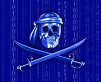 Pirateria di Digitahi con la cascata binaria Immagini Stock Libere da Diritti