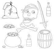 Piraterijvoorwerpen, contouren stock illustratie