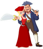 Pirates. Pretty Pirate Woman And Ugly Pirate Man With Weapons Stock Photography