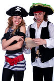 Pirates. Two pirate men and a women holding a map in his hands Stock Images