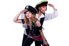 Pirates. Two pirates look away from your hands Royalty Free Stock Photography