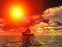 Pirates 4. An image of a pirate ship sailing on the ocean,with a sunset in the background Stock Photos