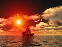 Pirates 5. An image of a pirate ship sailing on the ocean,with a sunset in the background Royalty Free Stock Photos
