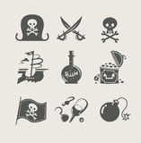Pirates accessory set of icon. Vector illustration Royalty Free Stock Photo