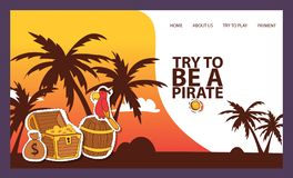 Pirates adventure hunt for lost treasure banner vector illustration. Try to be a pirate. Treasure, golden coins, parrot royalty free illustration