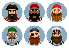 Pirates avatars collection. Set of portraits of sailors in a round shape. royalty free illustration