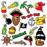 Pirates Badges, Patches, Stickers - Ship, Crossbones and Skeleton in Pop Art Comic Style for Fabric Textile Royalty Free Stock Photo