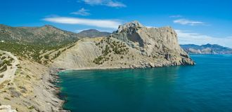 Pirates' Bay and Koba-Kaya mountain near Noviy Svet resort Royalty Free Stock Image