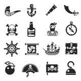 Pirates Black Icons Set Stock Image