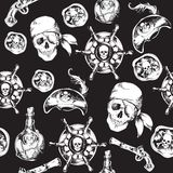 Pirates black and white seamless pattern. Hand drawn black and white pirates seamless pattern with hat rum bottle gun vector illustration Stock Photography
