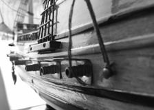 Pirates boat old black and white. Small old piratea Royalty Free Stock Photo