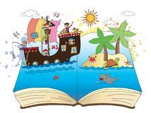 Pirates on the book. Pirates come out of an open book Stock Photography