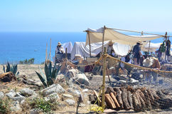 Pirates Campout. Re-enactment of a 17th century pirates lair or campout on a bluff overlooking the ocean in southern California.  Part of a two day event at Fort Royalty Free Stock Images