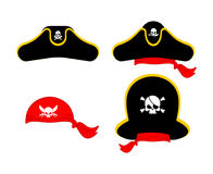 Pirates cap set. Hat buccaneer. Bones and skull. Corsair Accesso. Ry Royalty Free Stock Images