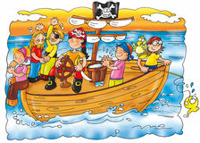 Pirates of the caravel with parrot rudder sails Royalty Free Stock Image