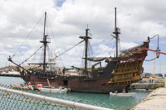 Pirates of the Caribbean 4 Set. A full view of the Black Pearl, ship and movie set of Pirates of the Caribbean 4: On Stranger Tides, being filmed in Hawaii Stock Photos