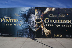 Pirates of the Caribbean: Dead Men Tell No Tales advertising. BROOKLYN, NEW YORK - JUNE 4 , 2017: Pirates of the Caribbean: Dead Men Tell No Tales advertising in Stock Photography
