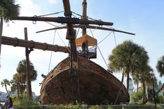 Pirates of the Caribbean ship bow frontal view. Old marooned and abandoned pirate ship front view. Disney resorts. Orlando, Florida Stock Photo