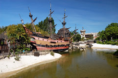 Pirates of caribbean theme. Disneyland Paris, Pirates of caribbean theme,  ship Royalty Free Stock Image