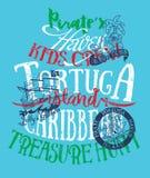 Pirates caribbean treasure island. Vector artwork for kids wear in custom colors Royalty Free Stock Photography